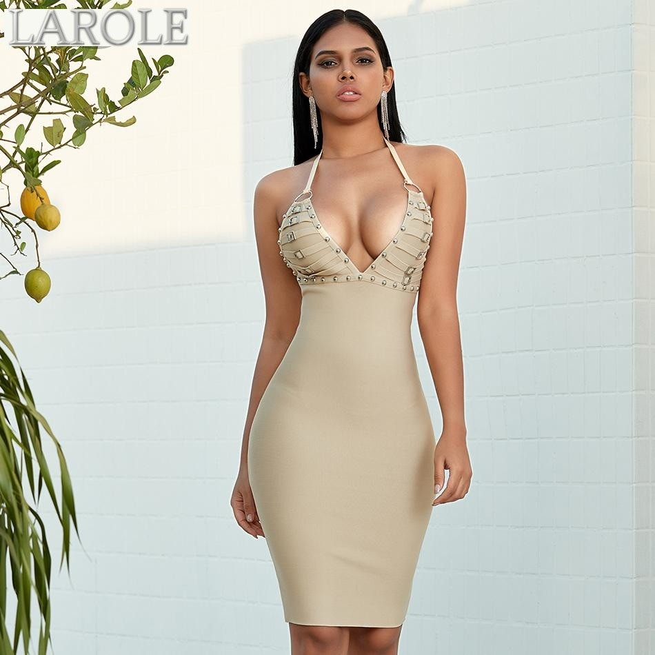 Nude Studded  Spaghetti Strap  Evening  Dress