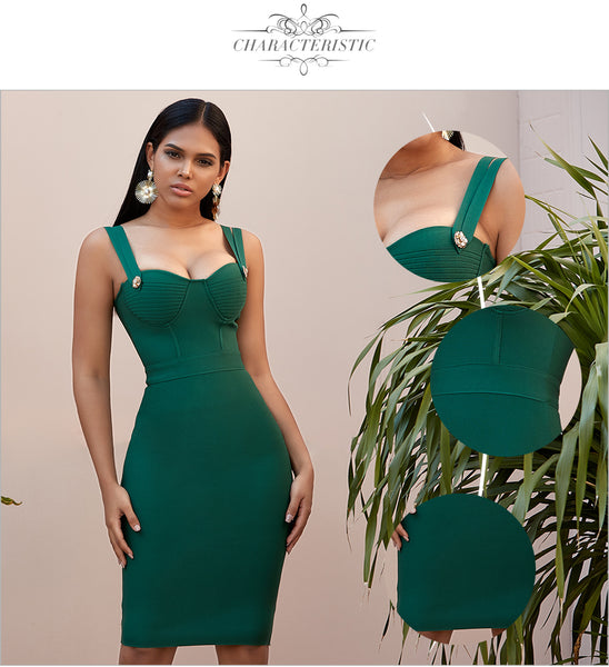 Green Bustier Sleeveless Evening Party Dress