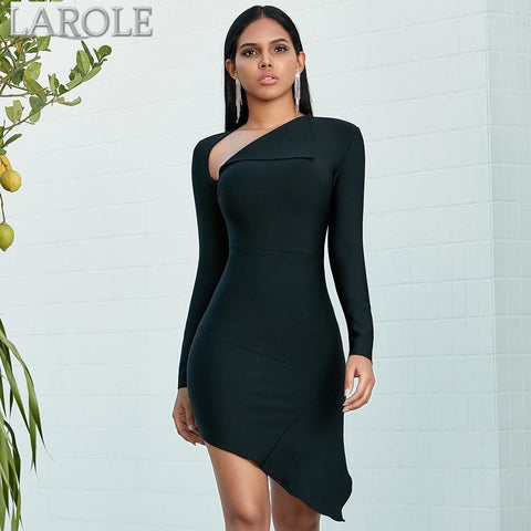 Long Sleeve Black Mini  Evening Party Dress