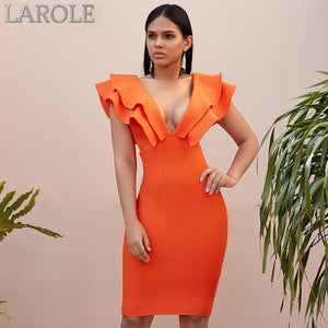 Orange Ruffles Sleeves Deep V  Neck Bodycon Mini Dress