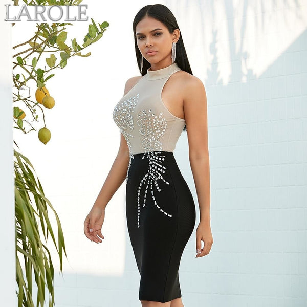 Halter Sleeveless Diamond Studded Midi Evening Party Dress