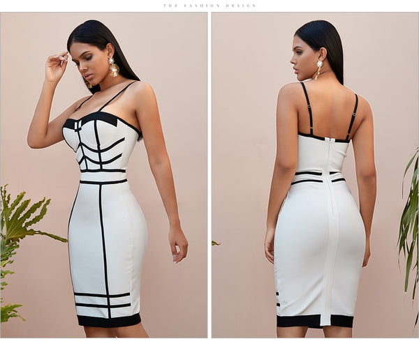 White With Black Striped  Sleeveless Bodycon Midi Dress
