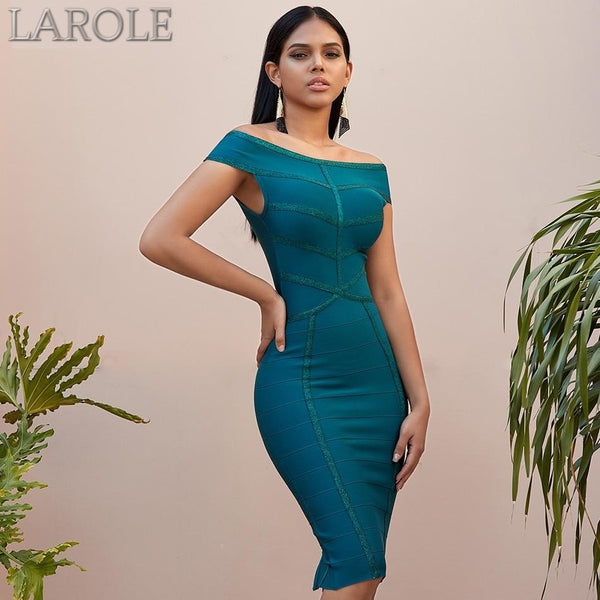 Off The Shoulder Short Sleeves Green Bandage Dress