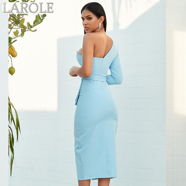 Blue One Shoulder Long Sleeve Club Dress