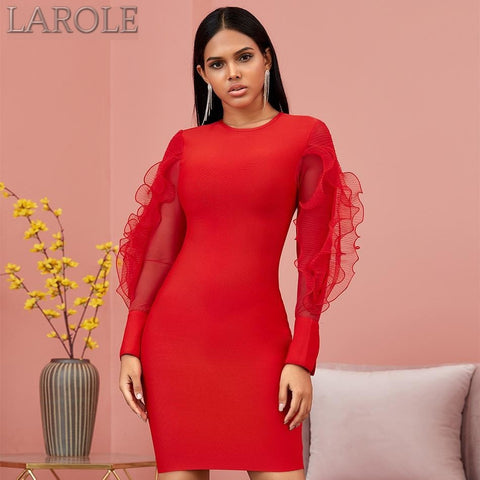 Red Long Ruffles Sleeves Evening Dress