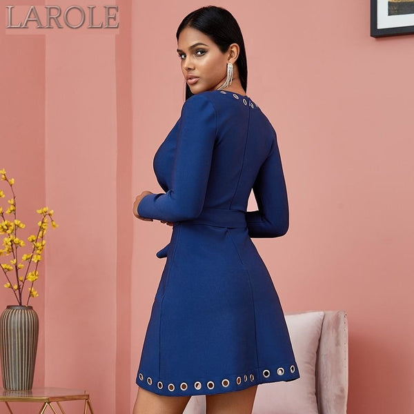 Autumn Blue V Neck Hollow Out Long Sleeve  Evening Runway Dress