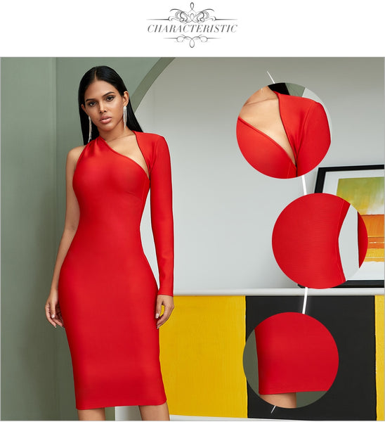 Red One Shoulder Long Sleeve Mini Bandage Dress