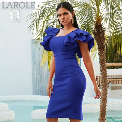 Blue Short Ruffles Sleeve Midi Dress