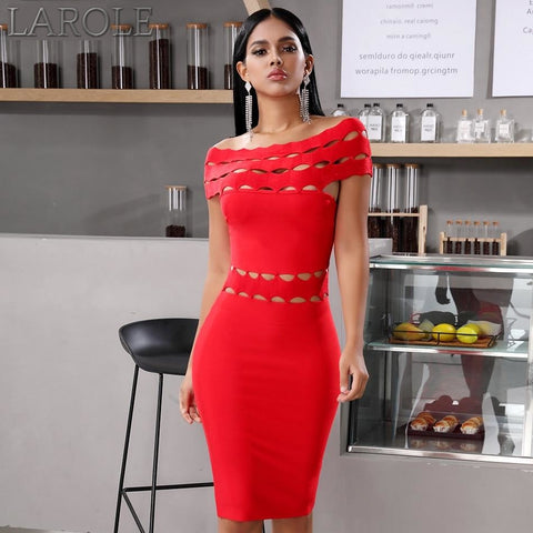 Red Off Shoulder Short Sleeve  Evening Party Dress