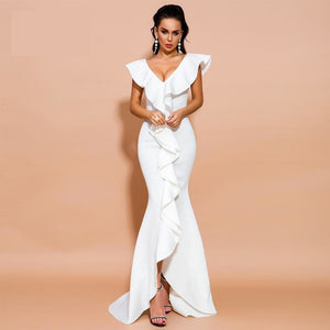 V Neck Ruffles Sleeveless Solid Color Maxi  Dress