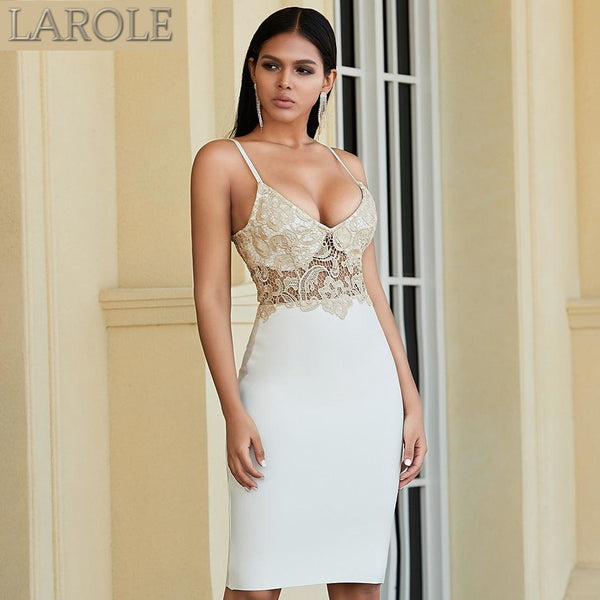 Sexy Spaghetti Strap Lace Top Evening Party Dress