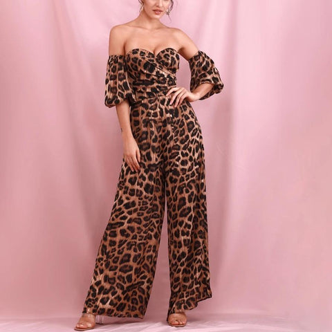 Brown Leopard Print Tube Top Large Sleeves Loose Flared Jumpsuit