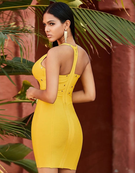 Yellow Halter Evening Mini Party Dress
