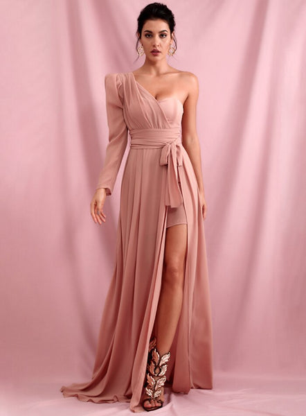 Off-The-Shoulder Pink Chiffon Whit Split Single Sleeve A-Shape  Maxi Dress