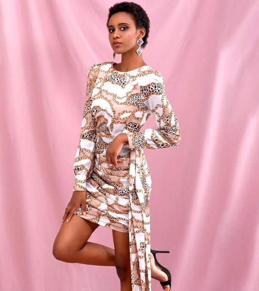 Pink Print Round Neck Open Back Streamer Fit Long Sleeve Mini Dress