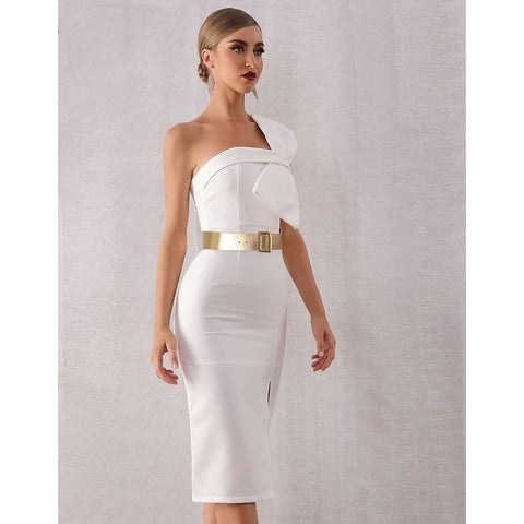 White Bow Sleeve Midi Evening Party Dress