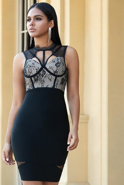 Black Lace Open Back Mini Bandage Dress