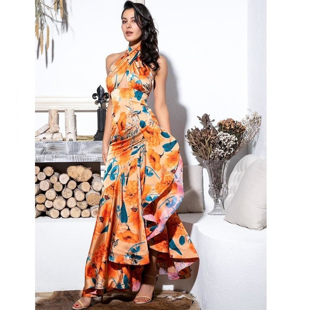 Orange Cross Straps Side Slits Ruffled Print Maxi Dress