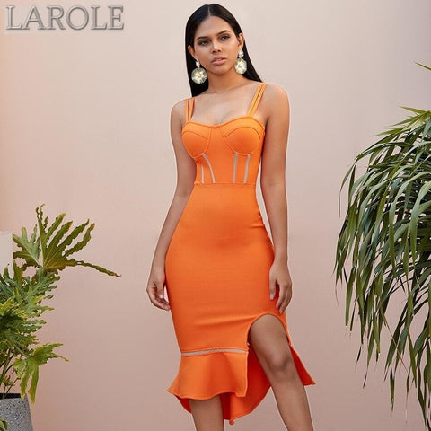 Orange Mermaid Evening Party Midi Dresses