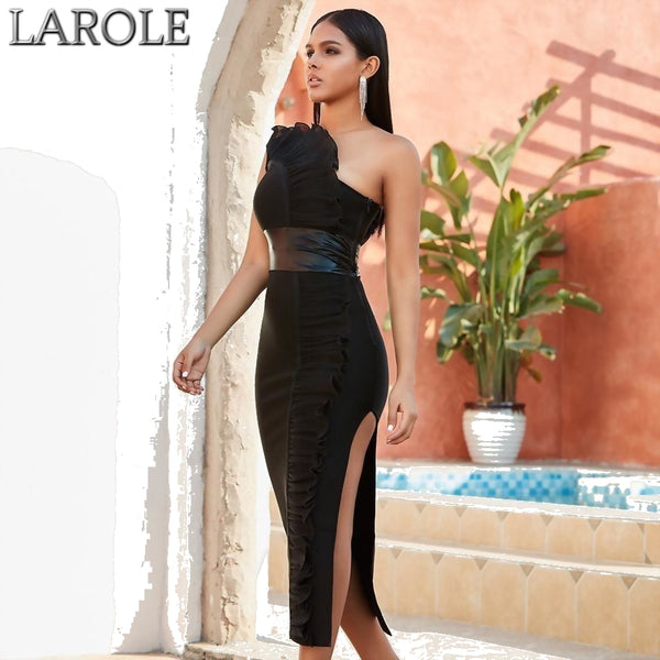 Sleeveless One Shoulder  Black Bandage Dresses