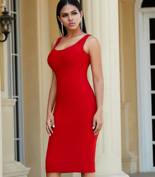 Hot Red Bodycon y Evening Bandage Dress