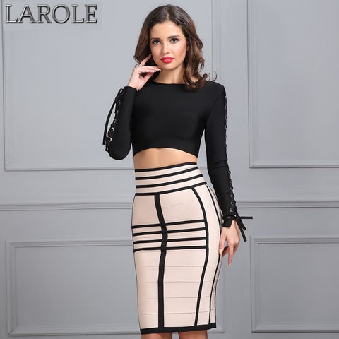 Chic Two Pieces Striped Black Beige Geometric Pencil Skirt and Long Sleeve Crop Top