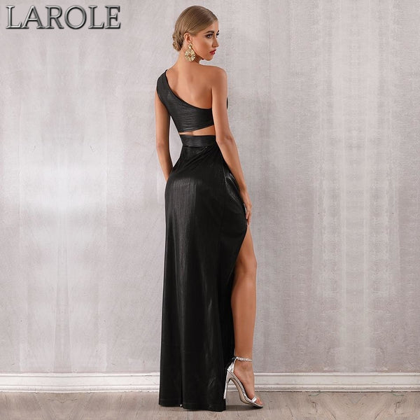 Black One Shoulder Side Slit Evening Maxi  Dress
