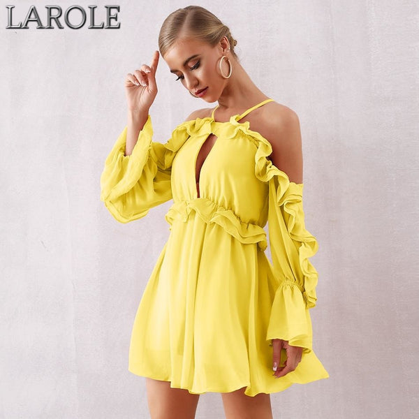 Yellow Off Shoulder Ruffles Long Sleeves Mini Dress