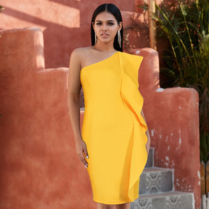 Yellow One Shoulder Ruffles Cocktail Bandage Dress - Available in more colors