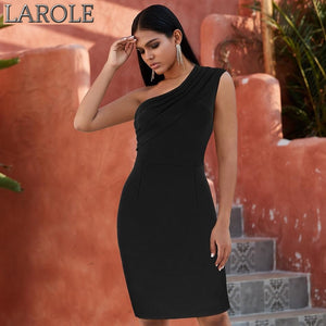Black One Shoulder Evening Cocktail Party Dress