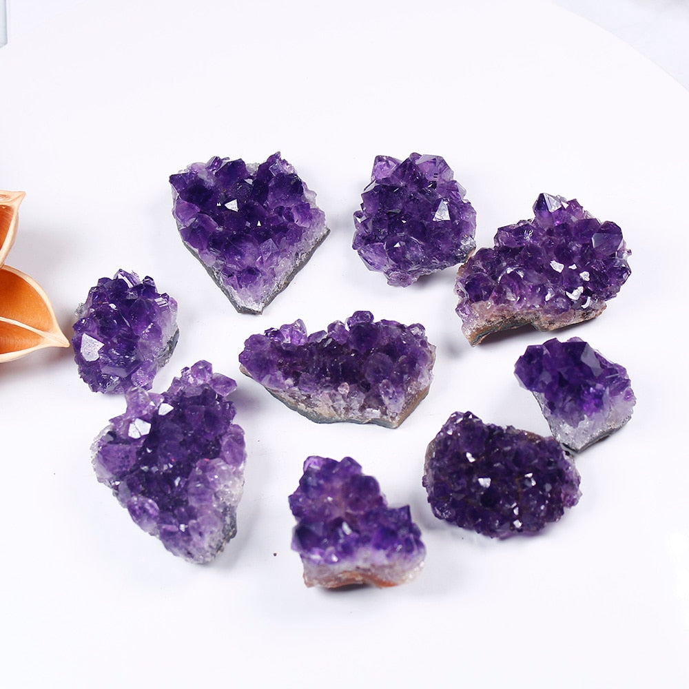 Natural Raw Amethyst Quartz Purple Crystal Cluster Healing Stone