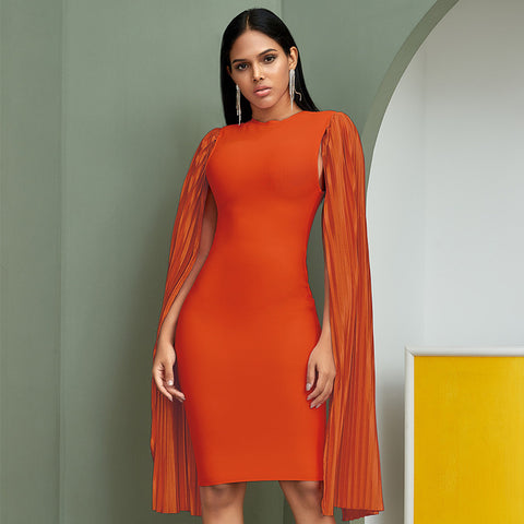Orange Long Batwing Sleeve  Bodycon Midi Bandage Dress - More Colors Available