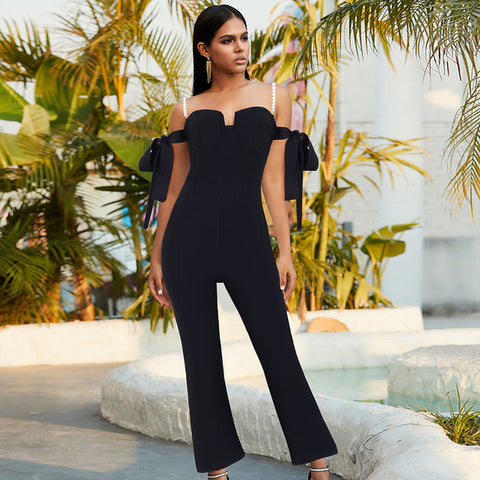 Black Off The Shoulder With Pearl Straps Bodycon Jumpsuit