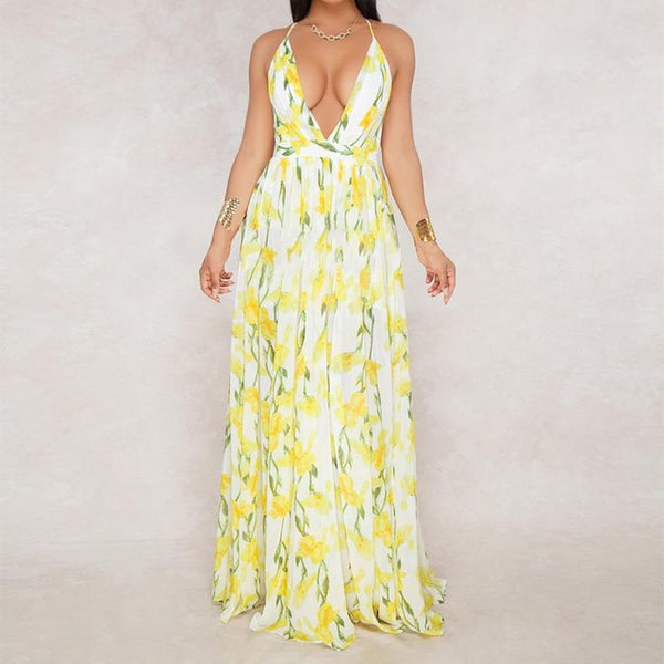Boho Style Floral Print Deep V Neck Backless Long Summer  Maxi Dress - More Colors Available