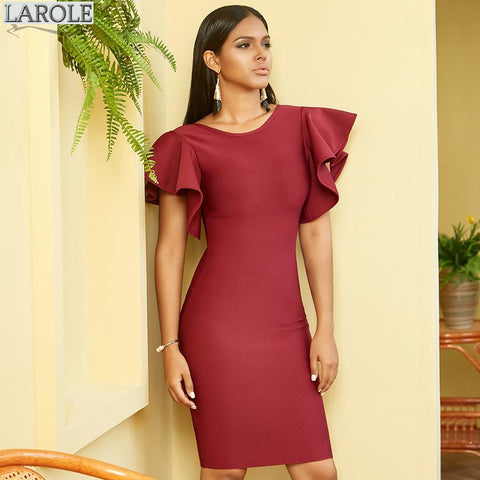Red Wine Backless Short Sleeve  Bodycon Celebrity Evening Party Dress