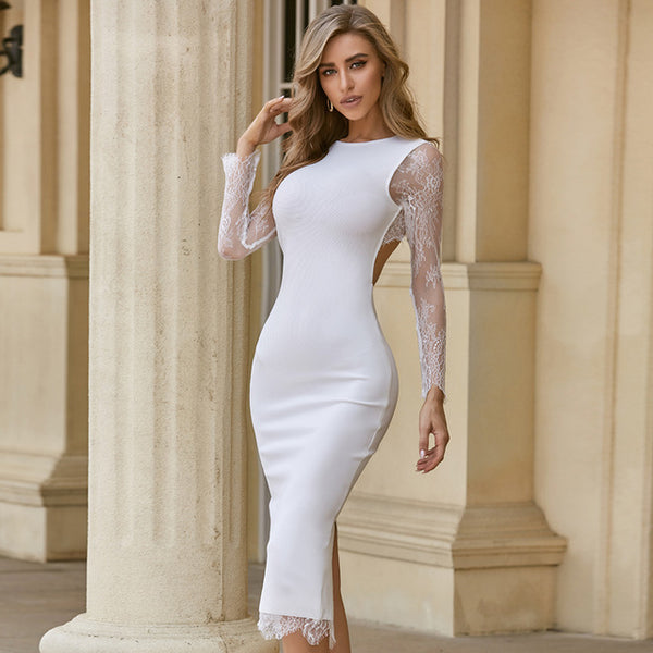 White Lace Long Sleeve Backless Runway Cocktail Party Dress