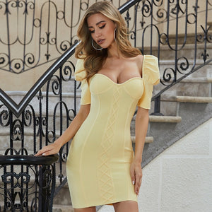 Yellow Short Sleeve Mini Bodycon Bandage Dress