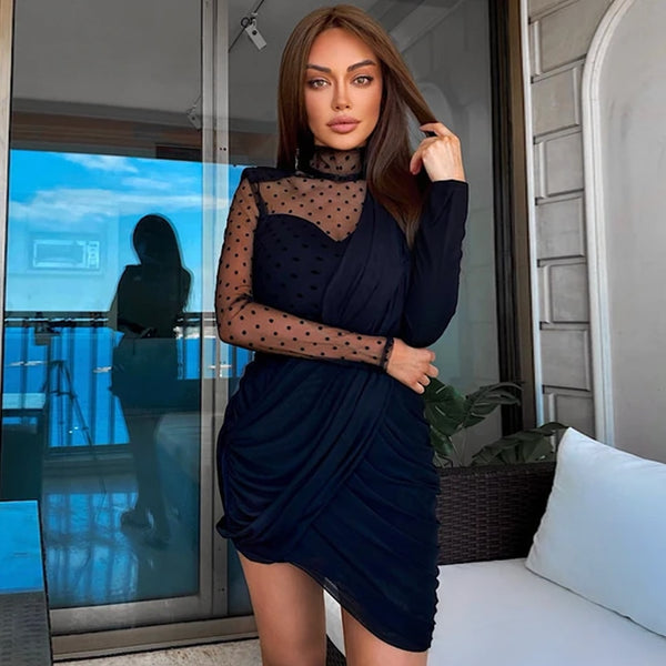 Contrast Lace Long Sleeve Draped Black Mini Dress