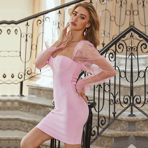 Pink Long Sleeve Runway Party Dress