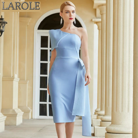 Sky Blue Bow Tie One Shoulder Midi Cocktail Dress