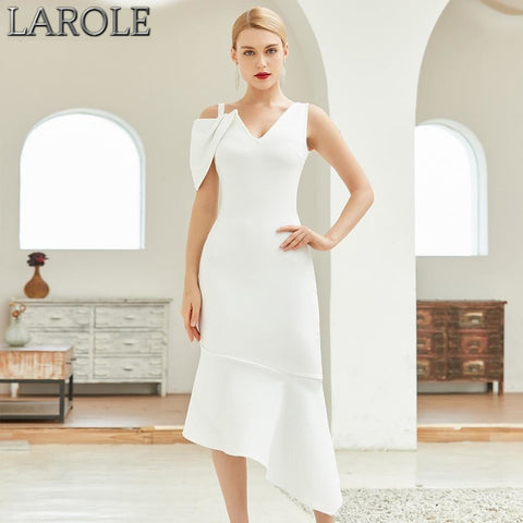 White V Neck One Short Sleeve Celebrity Runway Party Dress