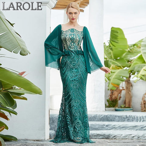 Green Long Sleeve Luxury Sequins Evening Gown