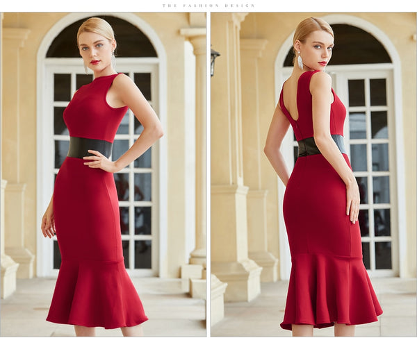 Black /Red Tank Sleeveless Mermaid Style Bodycon Bandage Dress