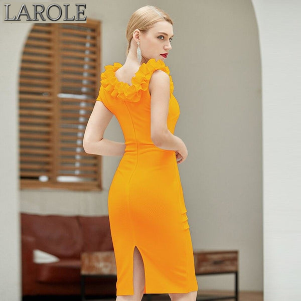 Yellow Ruffles Neckline One Sleeves Bodycon Bandage Dress