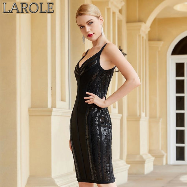 Black Sequins Sexy V Neck Spaghetti Strap  Runway Party Dress