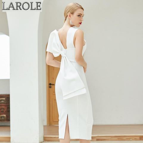 White Sleeveless Halter Back Bow Midi Bodycon Bandage Dress