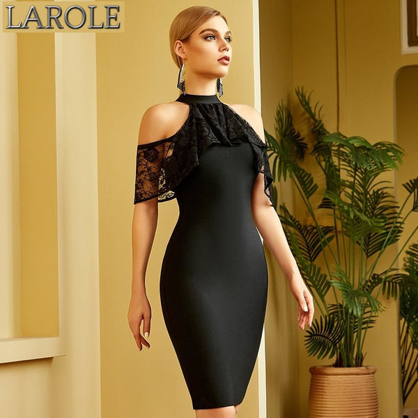 Black Lace Contrast Off Shoulder Bodycon Bandage Dress