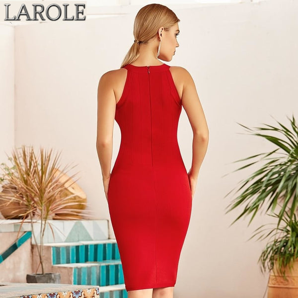 Hot Red Sleeveless Halter Evening Bodycon Dress
