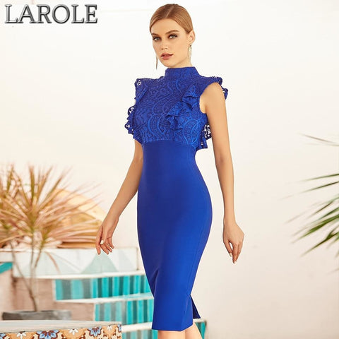 Blue Sleeveless Lace Top Midi Bodycon Bandage Dress
