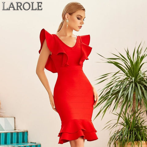 Red Ruffles Sleeves Midi Mermaid Bandage Dress